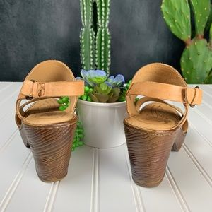 Born Shoes - 🌵Born Tan Leather Platform Sandal Heel Clog 9M